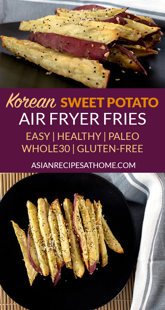 These Korean sweet potato fries are sweet, delicious, and so easy to make in the air fryer and are also gluten-free, Paleo and Whole30 compliant.