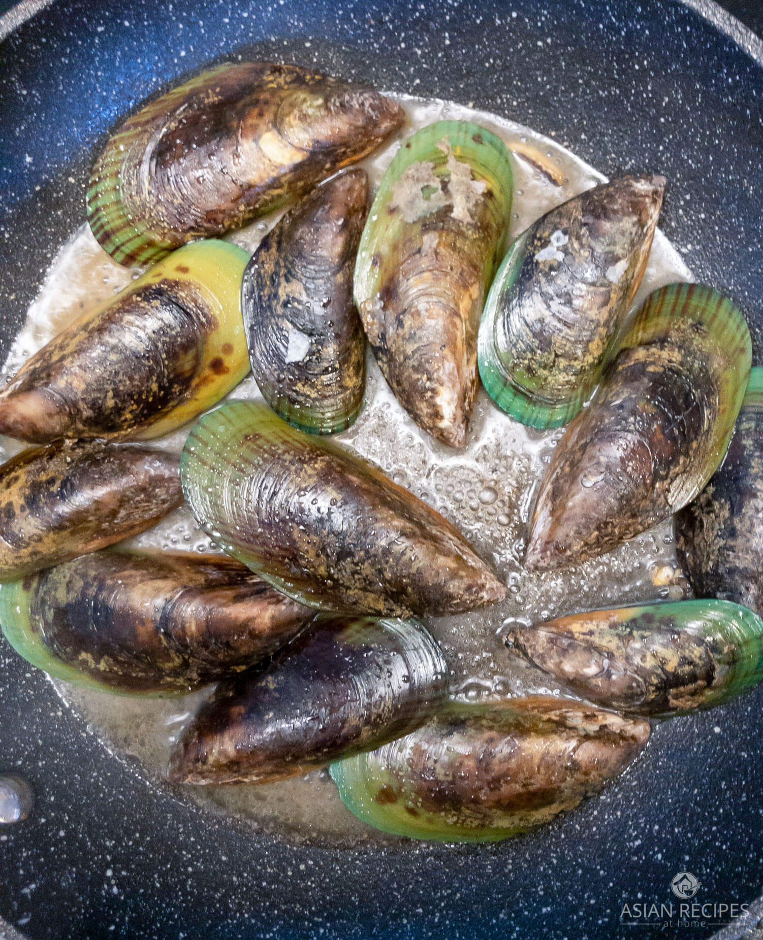Cooking New Zealand mussels on the half shell in this recipe