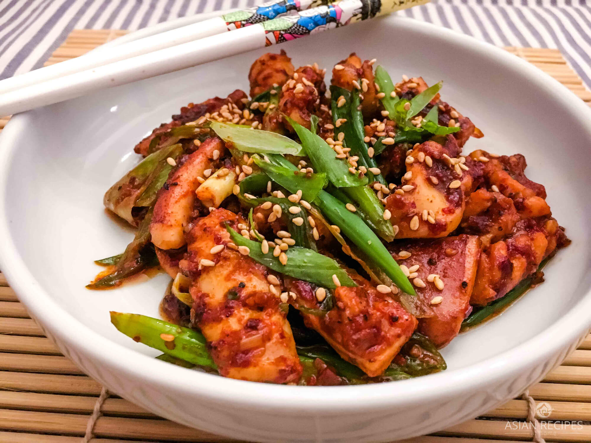 This simple Korean spicy stir-fried squid recipe is packed with flavor and only utilizes a few Korean must-have pantry ingredients.