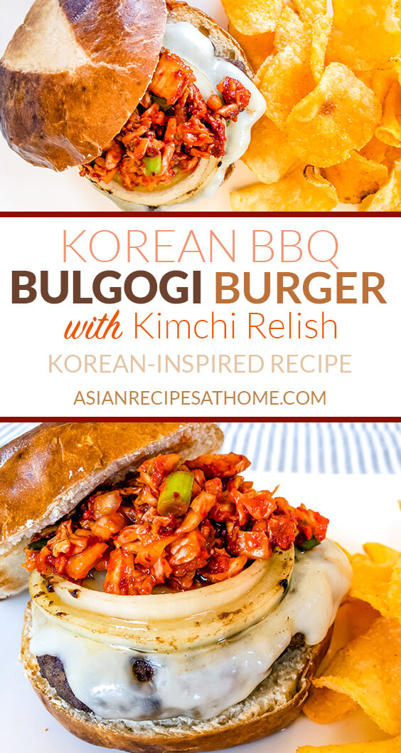 This Korean BBQ Bulgogi Burger recipe is marinated in a slightly sweet and savory marinade, cooked on the grill, and then topped with cheese and delicious homemade kimchi relish.