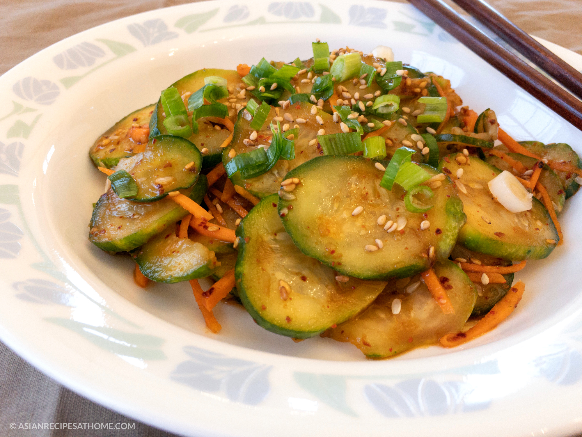 Spicy Korean Cucumber Salad - This fresh, simple and delicious spicy Korean cucumber salad is so easy to make, and just happens to be gluten-free, vegetarian, soy-free and vegan recipe from AsianRecipesAtHome.com.