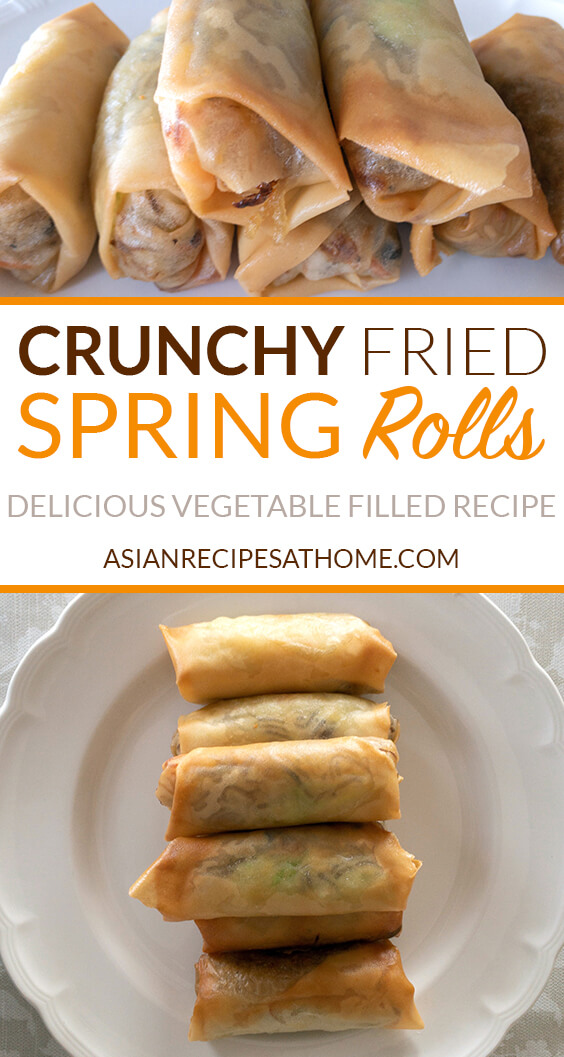 Delicious, Crunchy Fried Spring Rolls - The crispiest, crunchiest, and best spring roll recipe that is filled with vegetables and sweet potato noodles, then are deep-fried to a beautiful golden color.