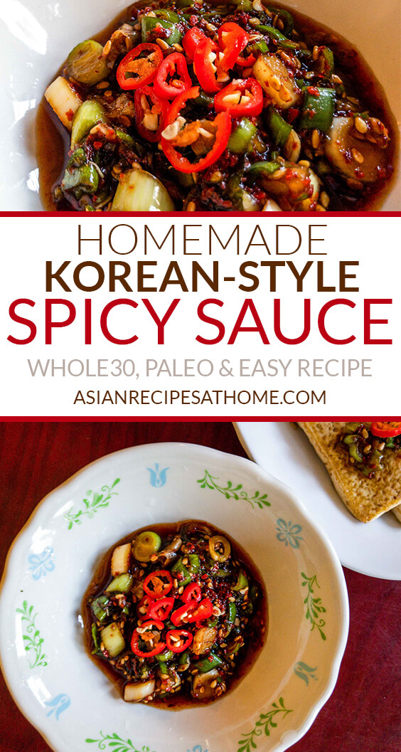This homemade Korean-style spicy sauce is so easy to make, delicious, and is Whole30 and Paleo compliant. The base of this sauce recipe consists of coconut aminos, fish sauce and red hot chili pepper flakes (gochugaru).