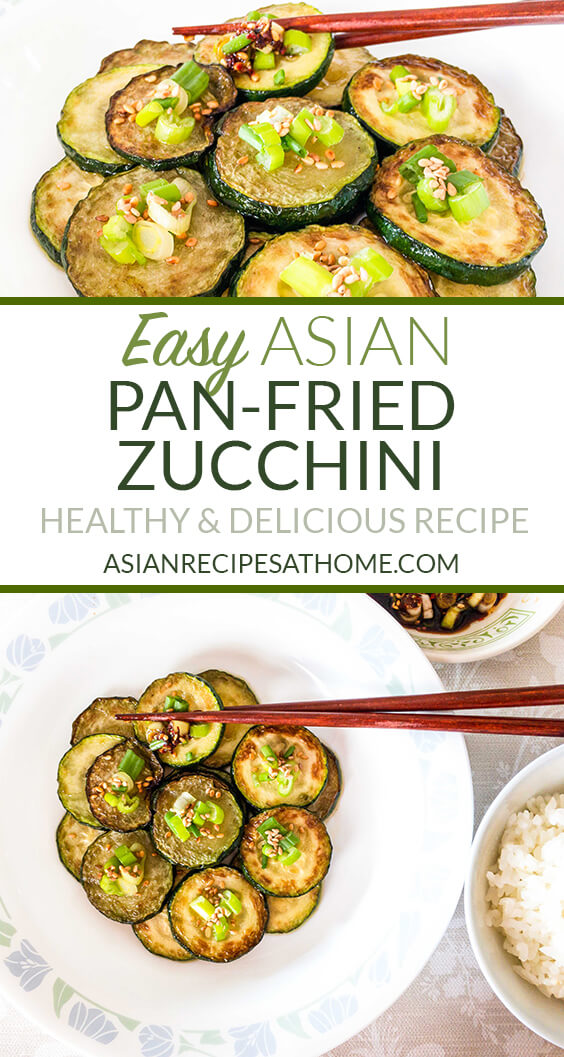 Fresh zucchini is pan-fried with delicious Asian flavors and ingredients. This easy Asian pan-fried zucchini is a healthy recipe that is a great side dish at any time of the year.