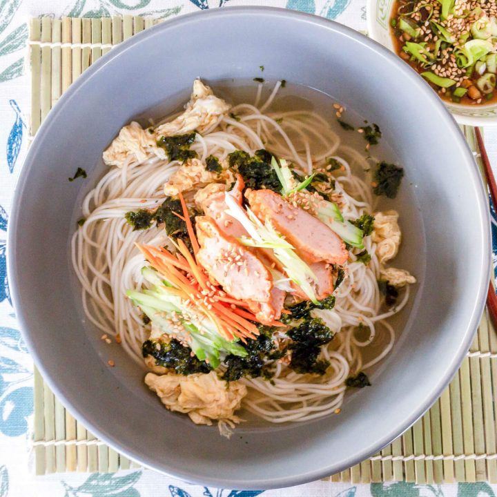 The base of this Korean warm noodle soup recipe is the delicious homemade umami filled clear soup stock. Top this bowl of noodles with vegetables, crumbled roasted nori sheets (gim), and sliced fish cake and you have yourself a fabulous healthy, savory and light meal.
