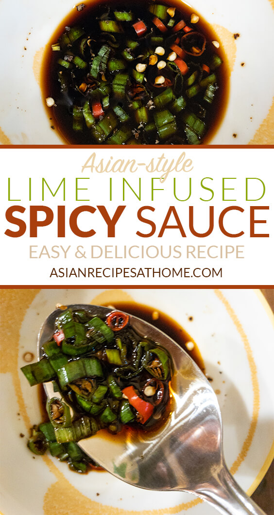 This Asian-style Lime Infused Spicy Sauce is a delicious sauce that goes great with a lot of seafood based dishes.