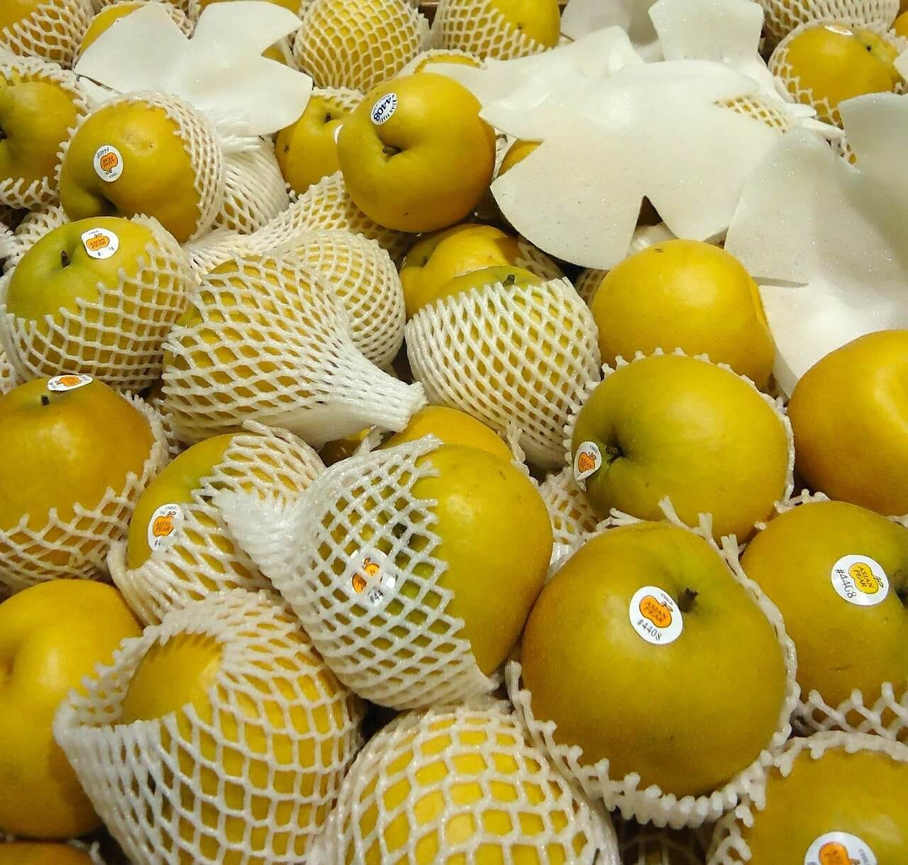 Asian pears in a grocery store
