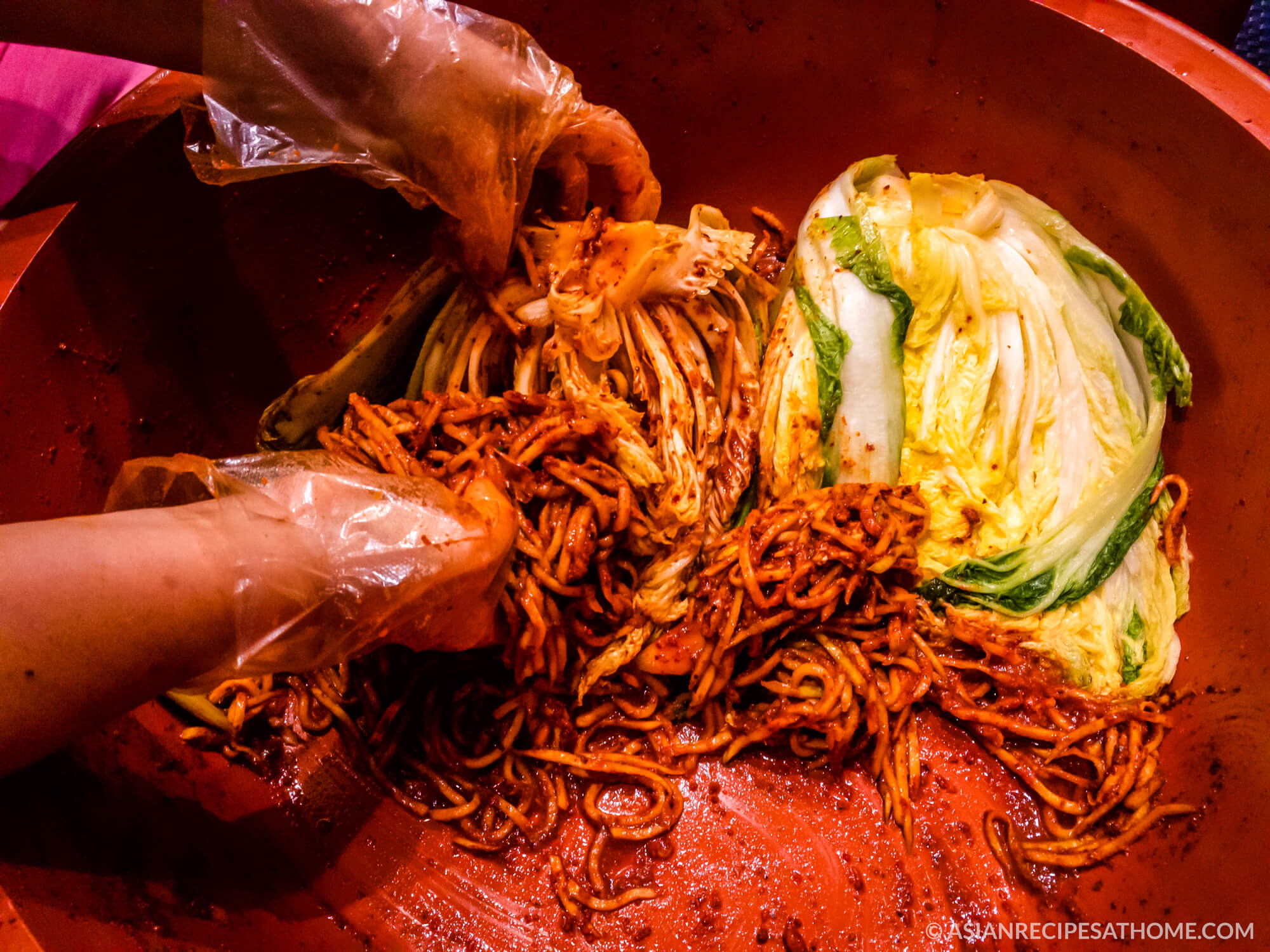Making winter style kimchi gives us many months of kimchi - the deliciously funky, spicy, sour fermented vegetable side dish that accompanies every Korean meal - readily available whenever we want it.