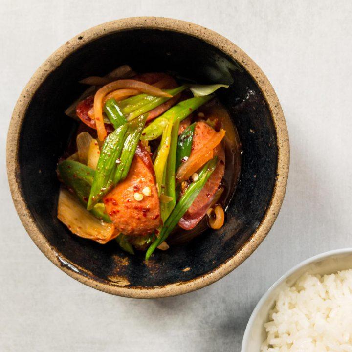 Korean Kimchi Stew (Jjigae) with Andouille Sausage