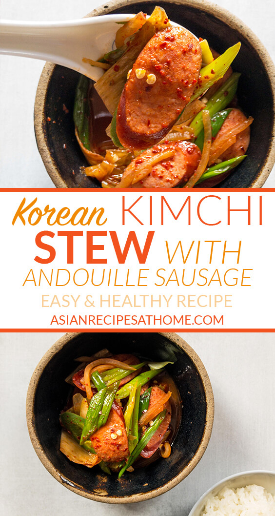 Our finished Korean Kimchi Stew with Andouille Sausage ready to serve with steamed white rice
