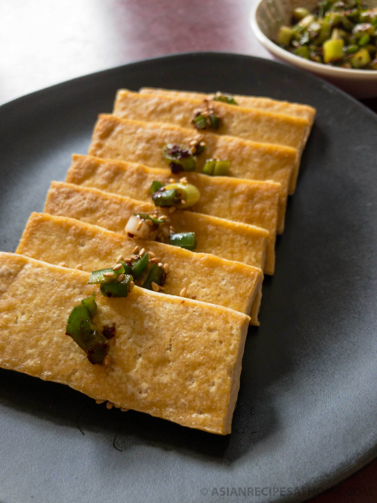 Pan-fried tofu with our Asian-style Jalapeno Green Onion sauce