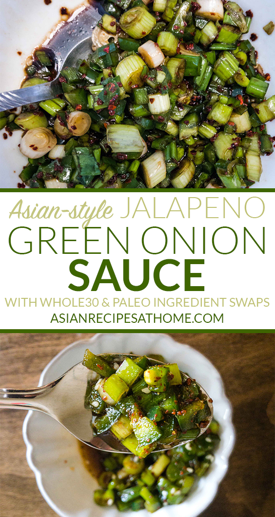 Asian-style Jalapeno and Green Onion Sauce is savory and has a kick of spice from the red chili powder (gochugaru) along with fresh jalapenos. #koreanrecipe #koreanfood #whole30 #paleo #saucerecipes