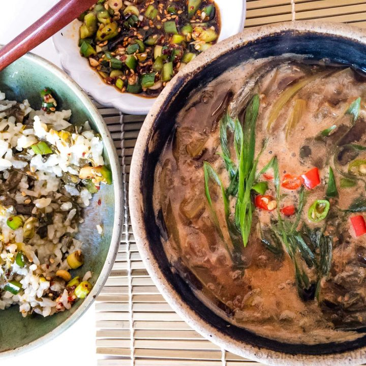 A healthy and simple Korean Soybean Paste Stew (Doenjang Jjigae) recipe with the addition of delicious poke salad (sallet).