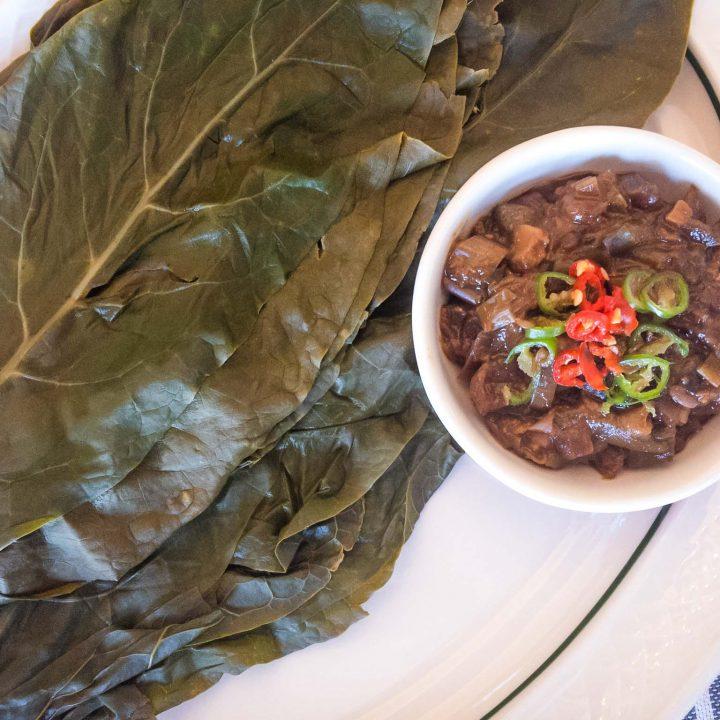 Poke Salad (Sallet) Rice Wraps with Doenjang Sauce