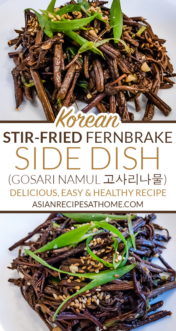 Dried fernbrake (gosari) is rehydrated and then stir-fried with soy sauce, minced garlic, and a few other select ingredients to create a delicious Korean side dish.