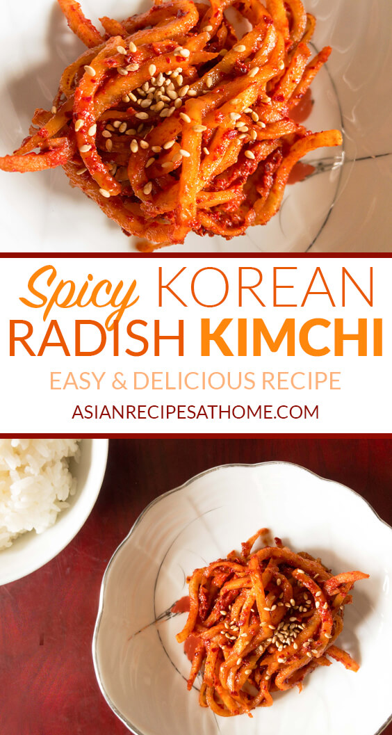 Fresh Korean radish is julienned into strands and then mixed with a spicy mixture to create a delicious and quick radish kimchi.