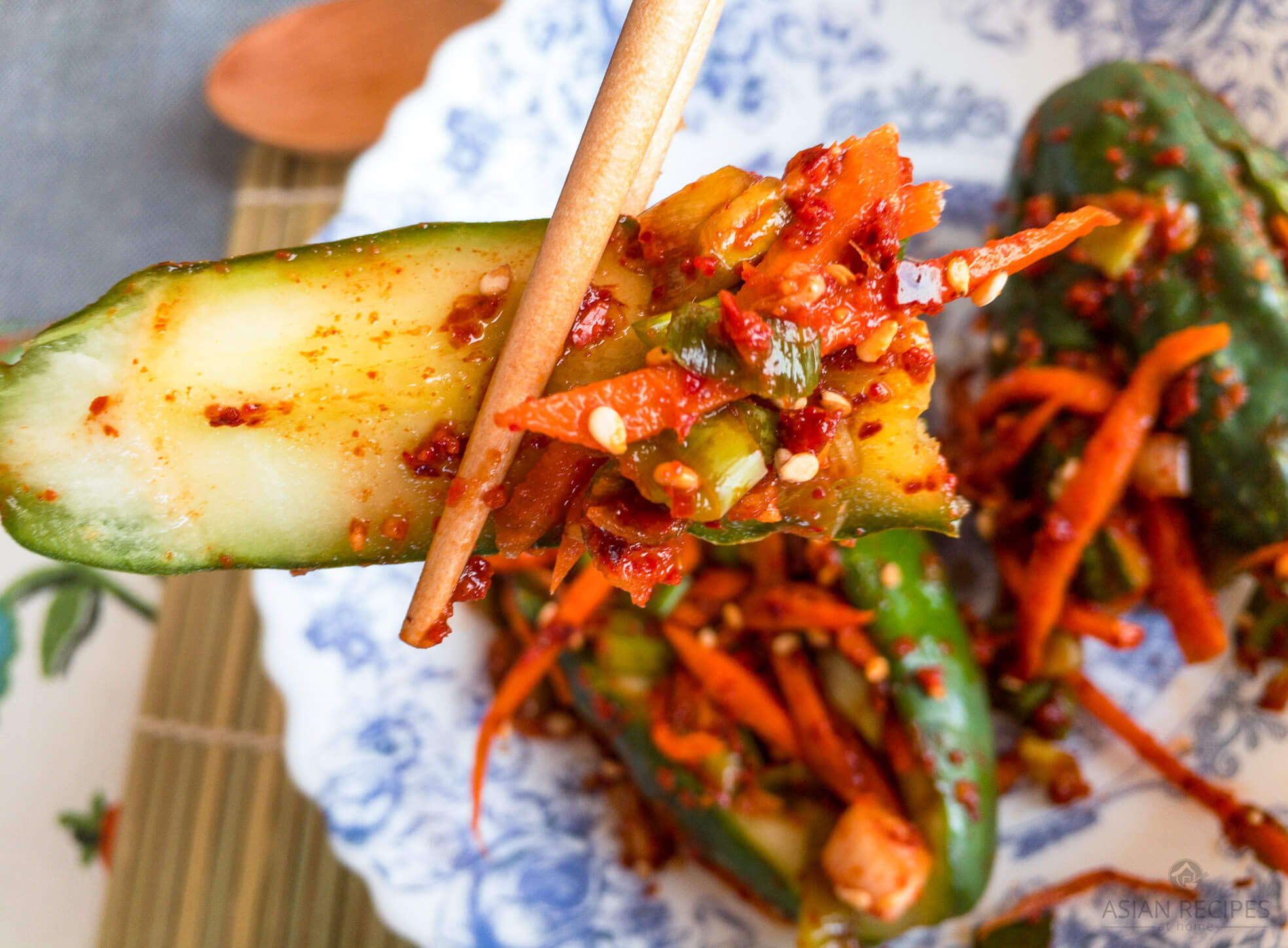 This stuffed Korean cucumber kimchi recipe is so delicious, crunchy, light, and spicy. Perfect for a hot summer day!