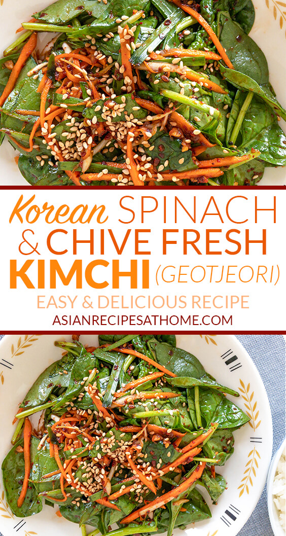 This side dish is a quick, easy, and salad-like Korean spinach and chive fresh kimchi (geotjeori).