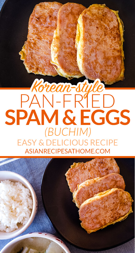 Spam slices are coated in whisked eggs and then pan-fried to a golden brown.