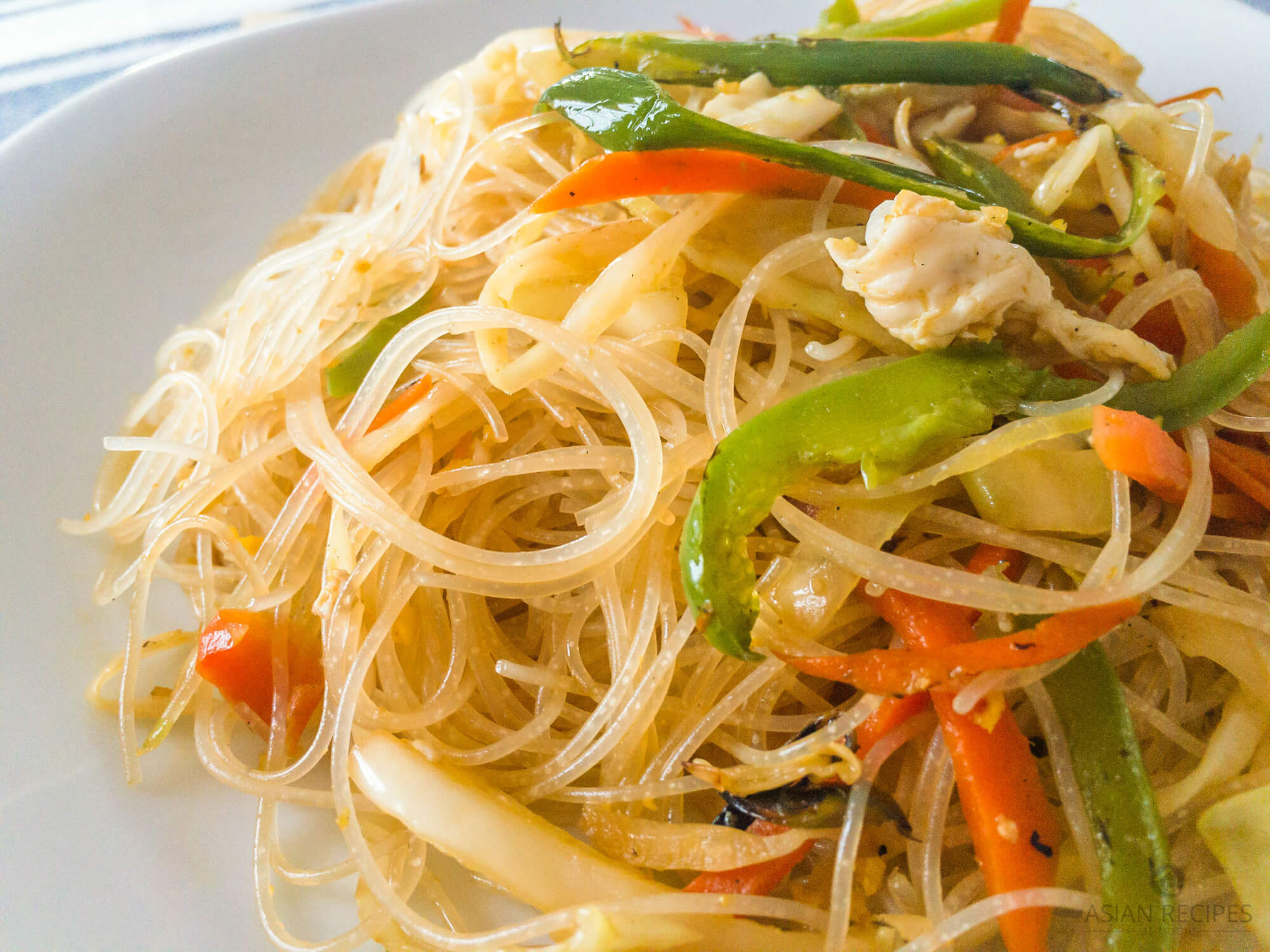 Close up image of our stir-fried rice noodles with vegetables.