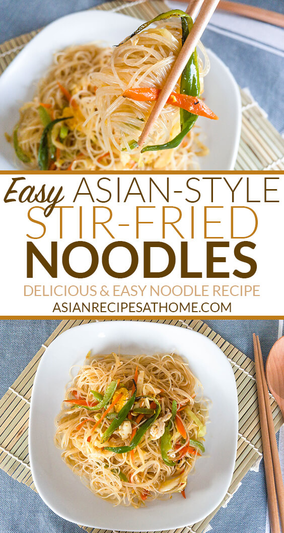 Stir-fried rice noodles with vegetables.