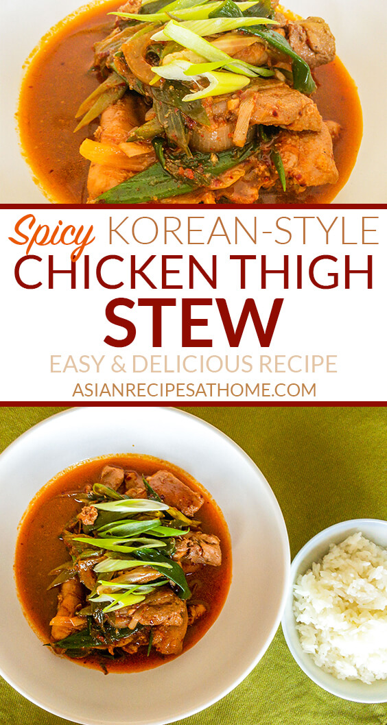 This flavorful stew recipe is made with boneless chicken thighs that are first marinated in a spicy Korean-style marinade.