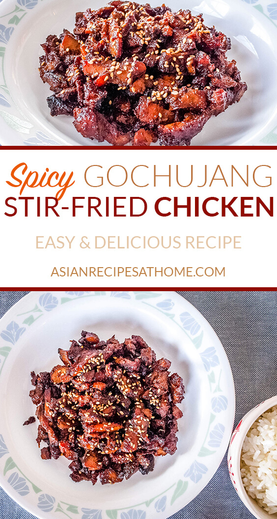 This stir-fried spicy chicken is marinated in a Korean red chili pepper paste (gochujang) based sauce.