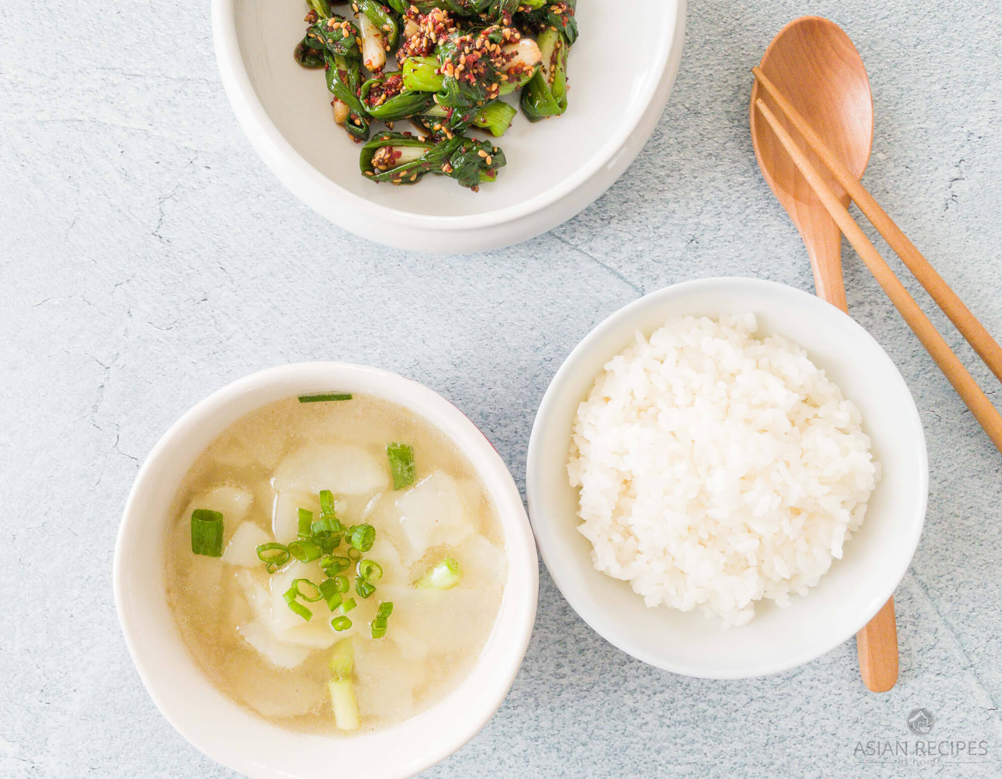 This is a super easy potato soup that is made with simple Asian-style seasonings to create a clear broth. Served with green onion side dish and steamed rice.