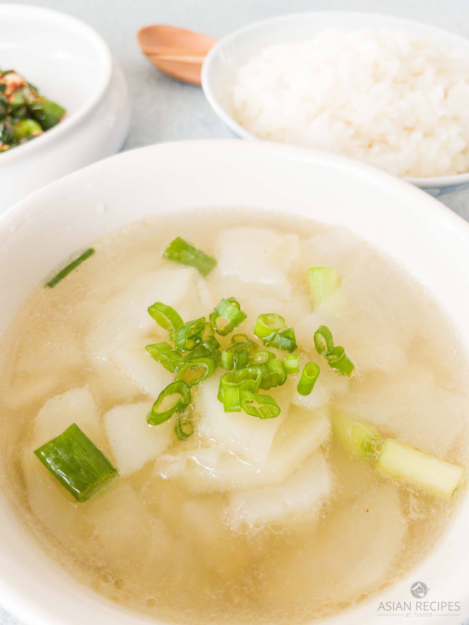This is a super easy potato soup that is made with simple Asian-style seasonings to create a clear broth.