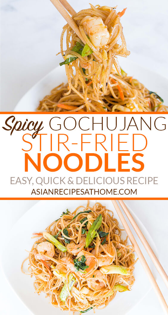 Gochujang Stir Fried Rice Noodles With Shrimp Asian Recipes At Home