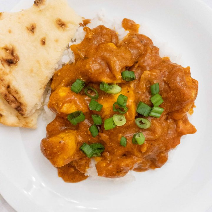 A super easy and quick meal using store-bought Tikka Masala sauce will satisfy your Indian food cravings.