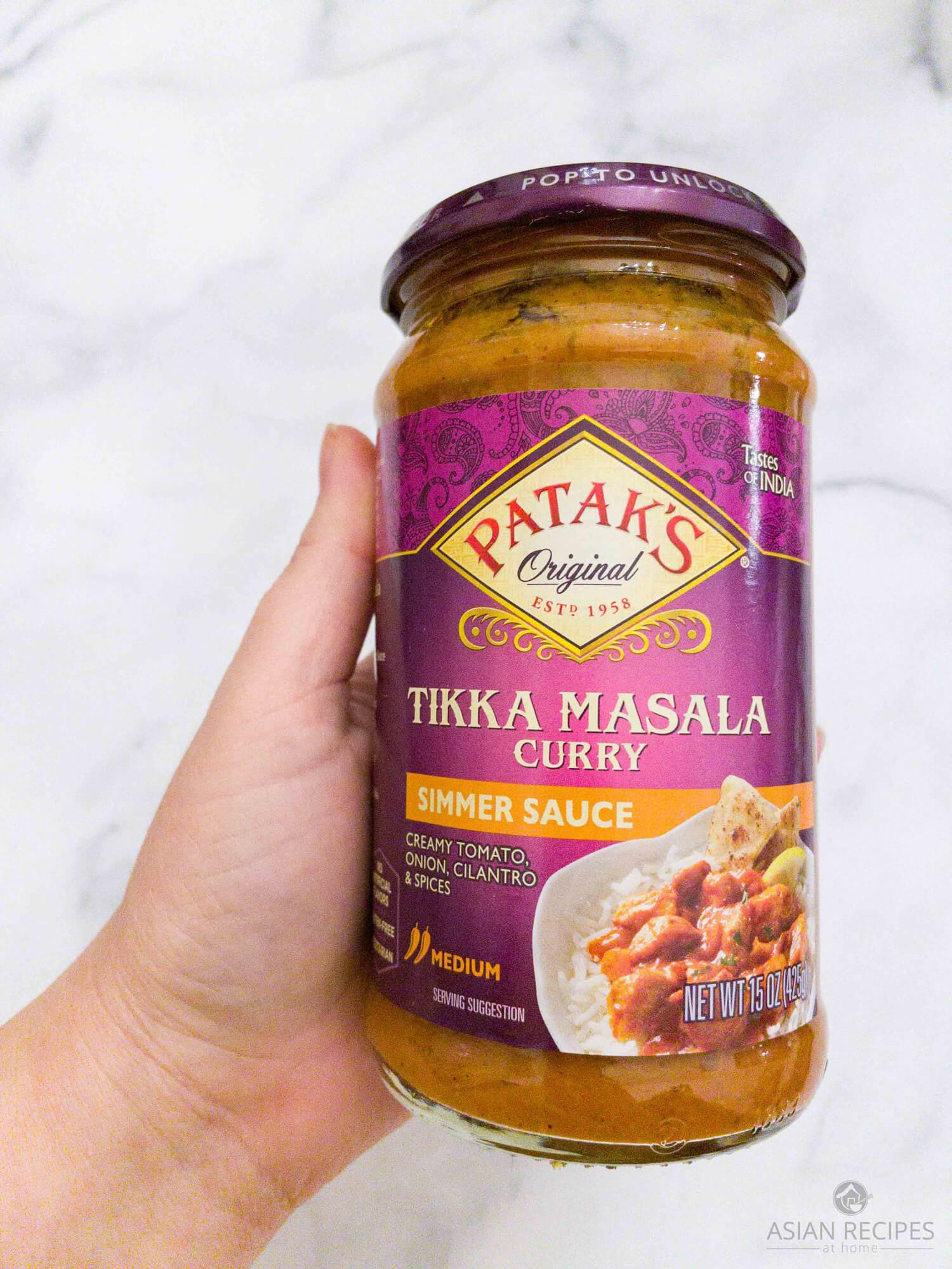 A store-bought jar of Patak's Tikka Masala Curry