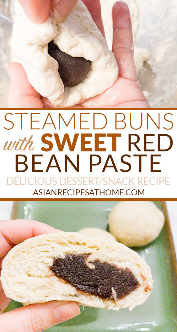 Steamed buns filled with a sweet red bean paste (jjinppang) is a great snack the whole family will enjoy.