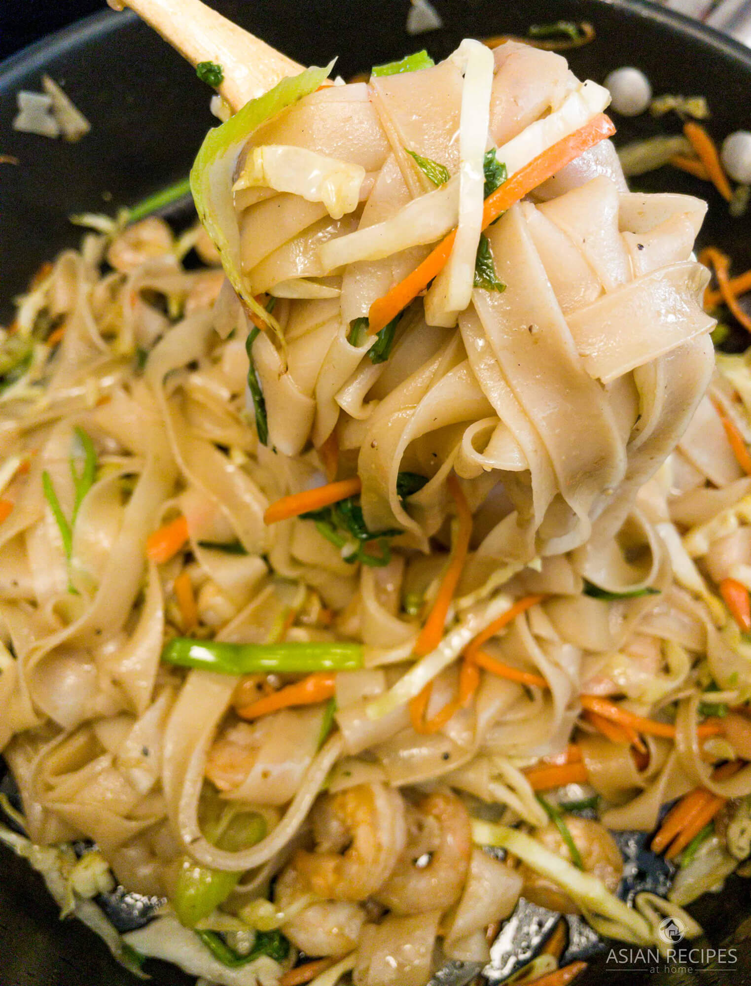 This easy stir-fried rice noodle recipe is bursting with Asian flavors and delicious shrimp.