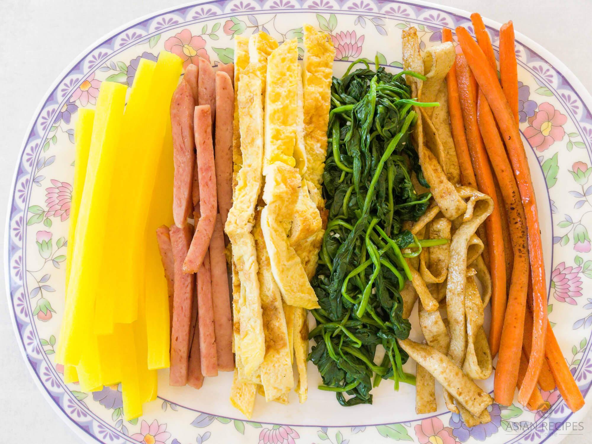Korean Kimbap fillings prepared