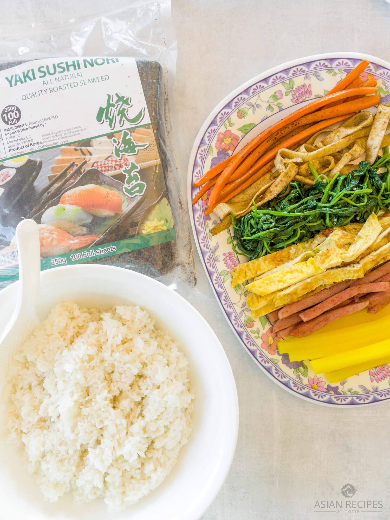 Ingredients needed to make our Korea kimbap recipe