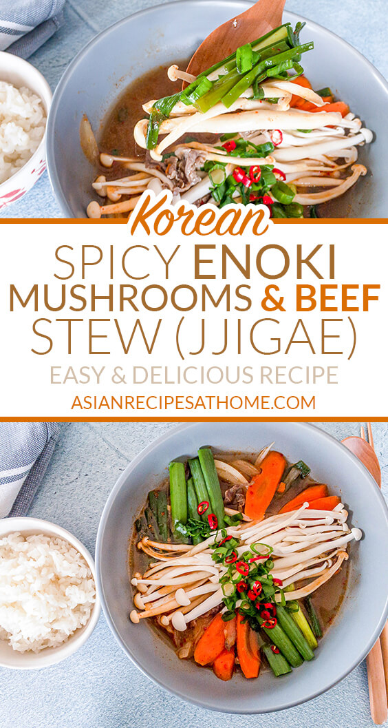 Our Korean-style spicy stew recipe is filled with enoki mushrooms, beef and other vegetables.
