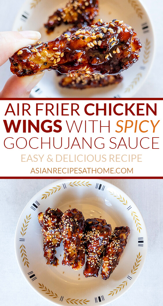 It just takes about 30 minutes to cook wings in an air fryer that are served tossed in a delicious, spicy gochujang sauce!