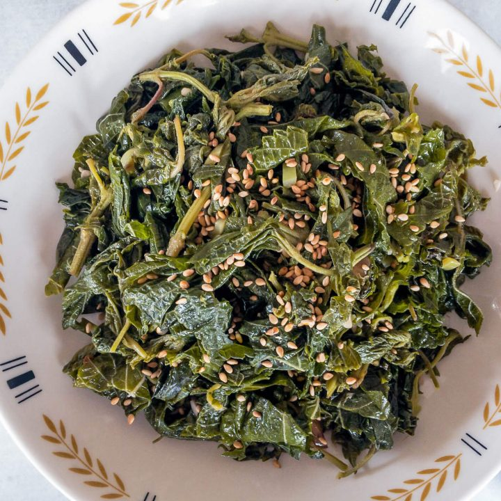 Asian-style stir-fried sesame leaves are a delicious way to add a unique green vegetable to your diet.