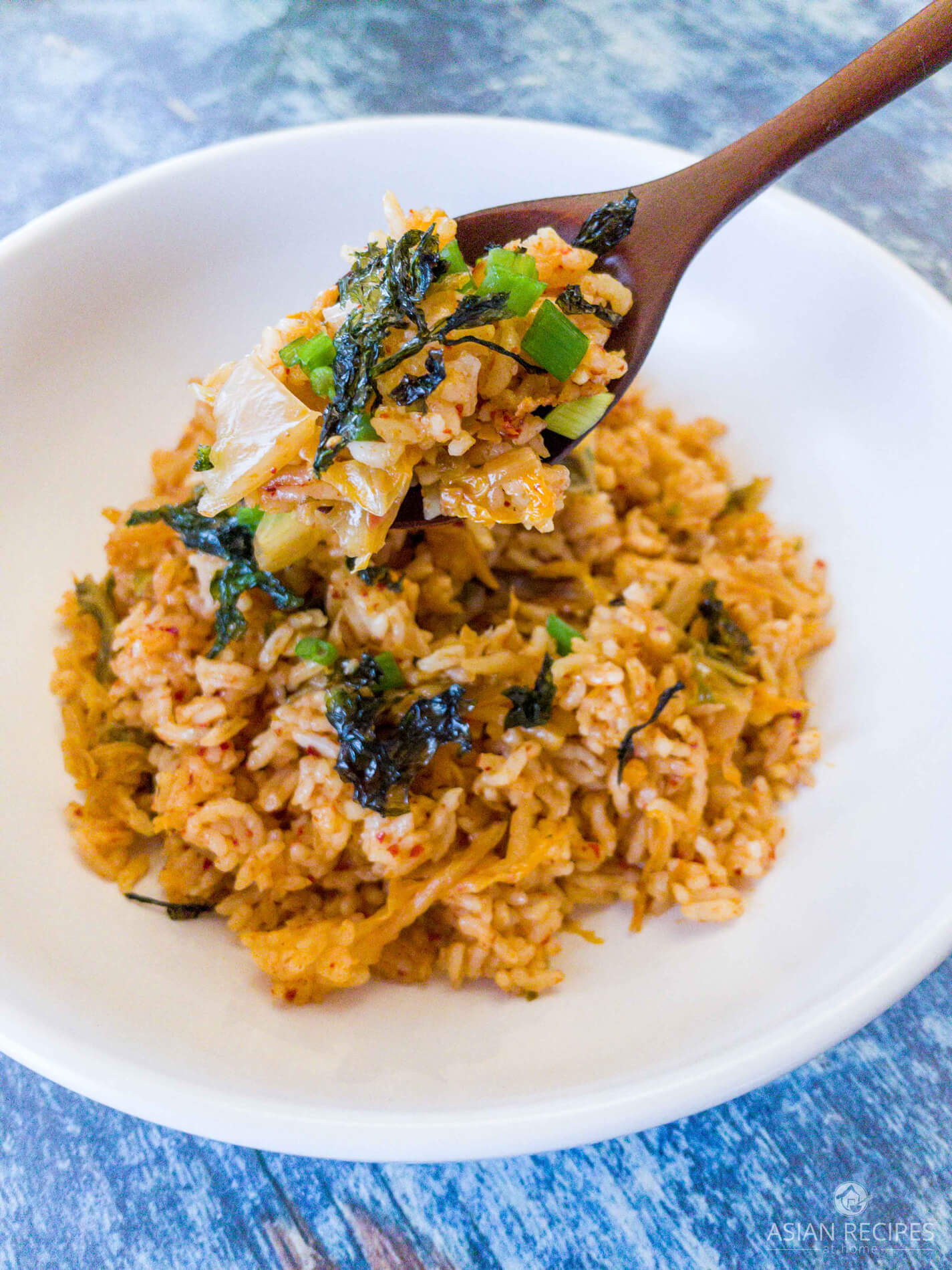 Spoonful of kimchi fried rice.