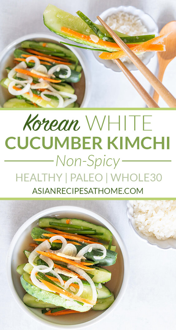 Try this cucumber kimchi recipe that is not spicy! A perfect option for delicious fermented cucumbers filled with the good for you probiotics.