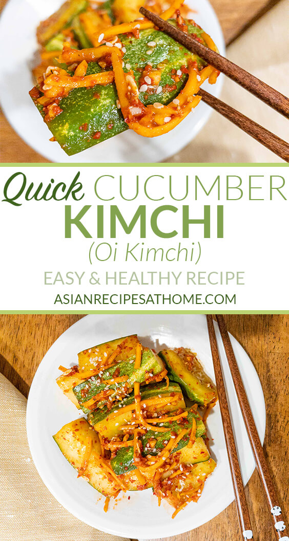 Cucumbers are tossed in a red hot chili pepper powder (gochugaru), soy sauce, fish sauce, garlic, and a few other common ingredients.