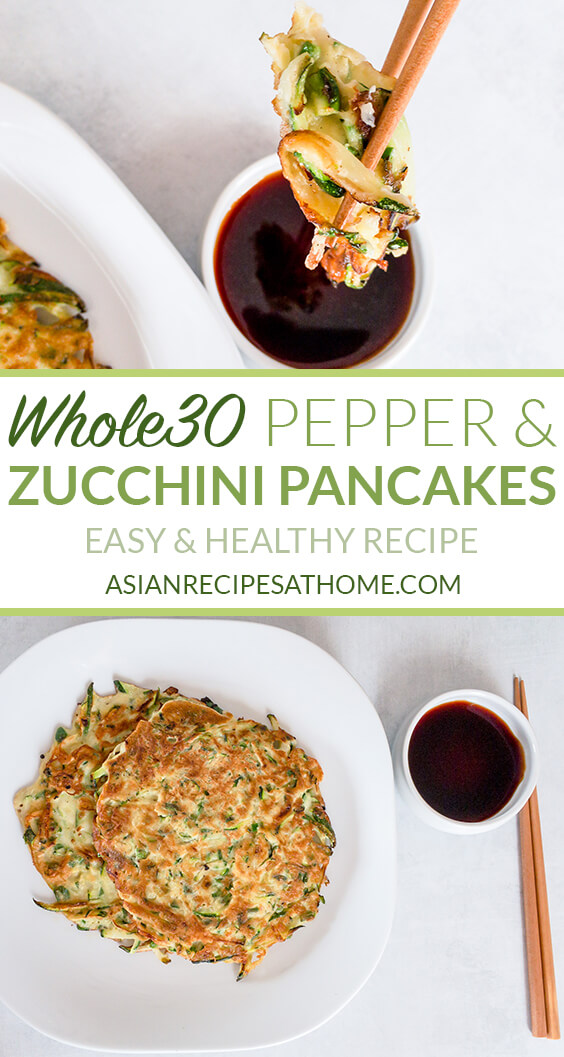 Our savory pancakes are made with fresh zucchini and peppers. Easy to make and a healthy side dish or snack option!