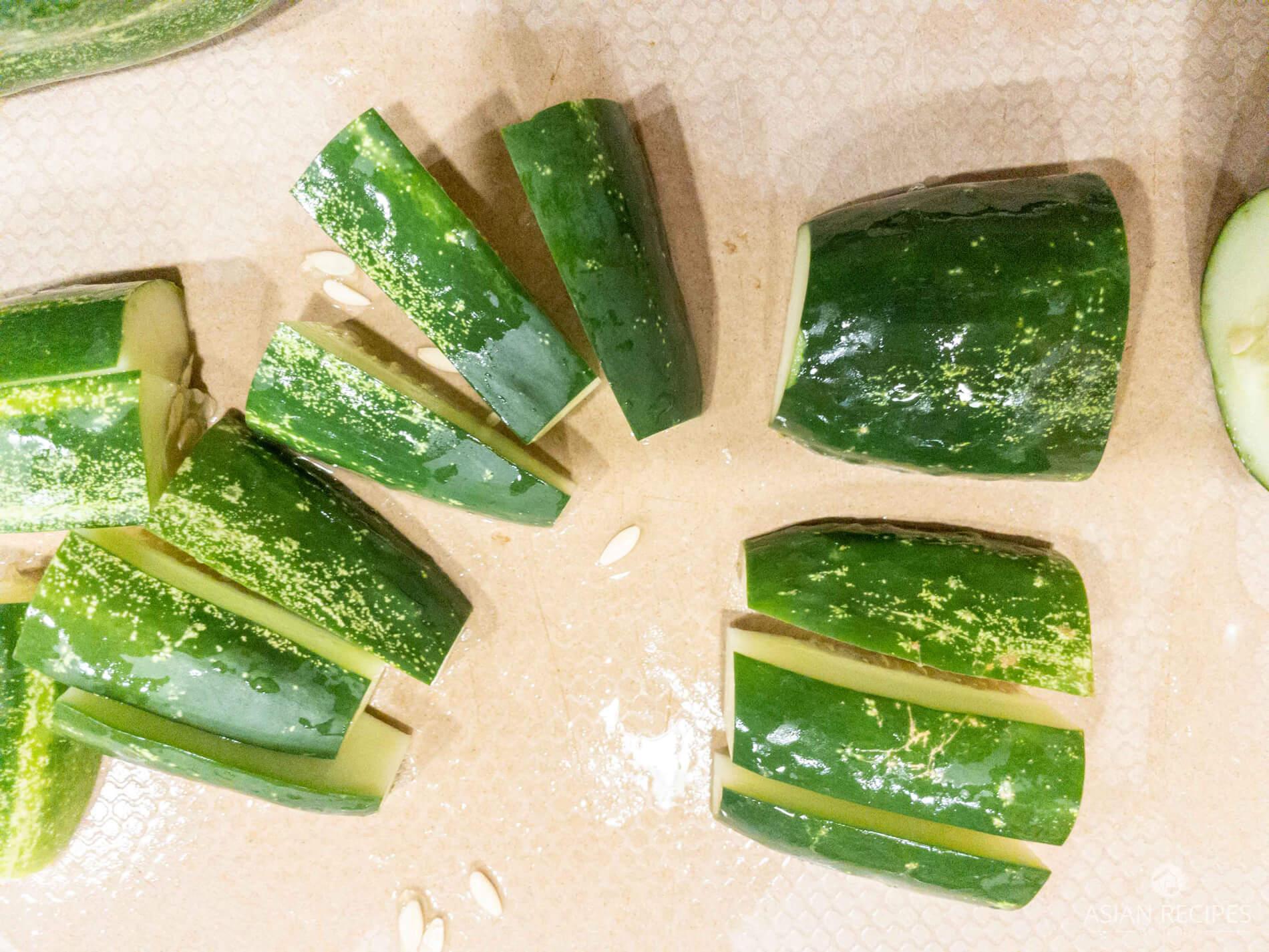 Cutting cucumbers for quick cucumber kimchi