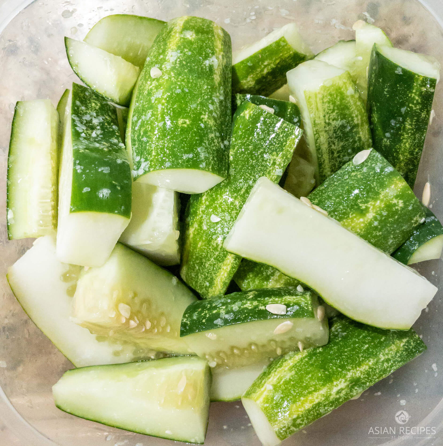 Salted cucumbers for quick cucumber kimchi