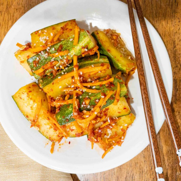 Quick cucumber kimchi ready to eat