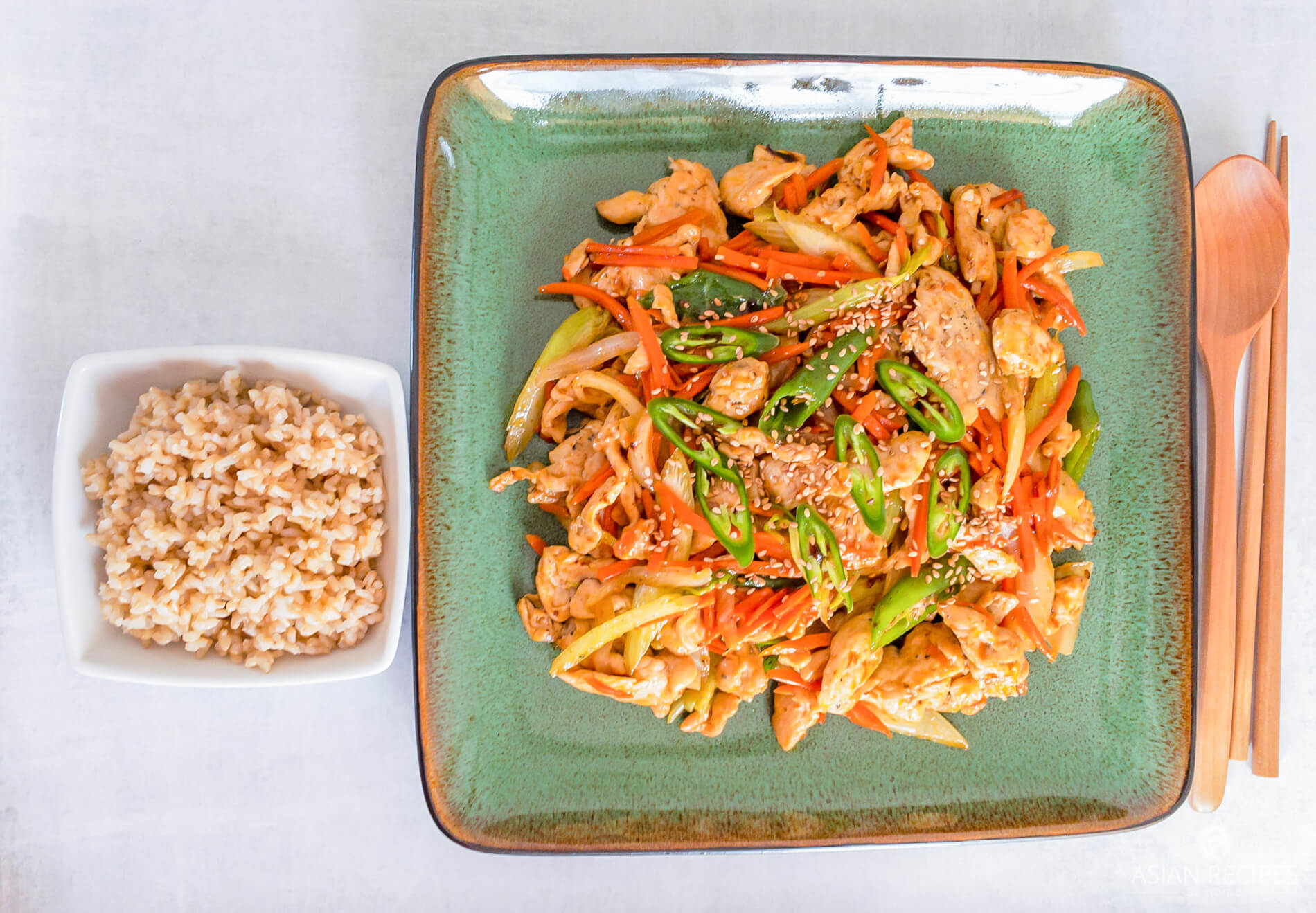 Healthy chicken stir fry served with brown rice
